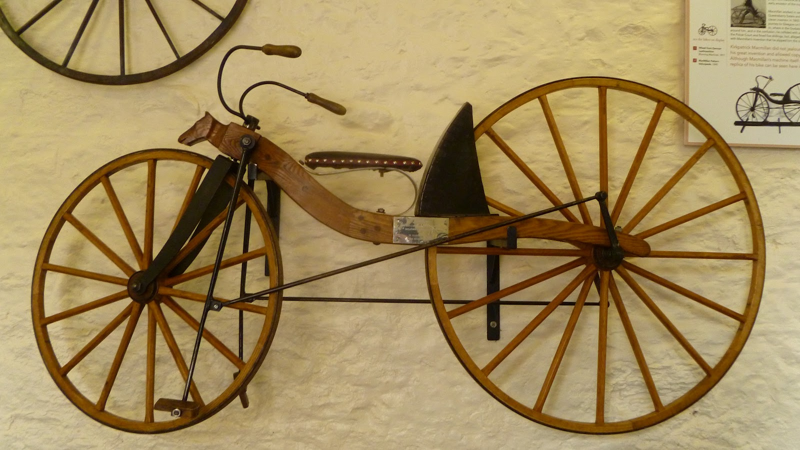 Replica of Kirkpatrick Macmillan's first mechanically driven bicycle
