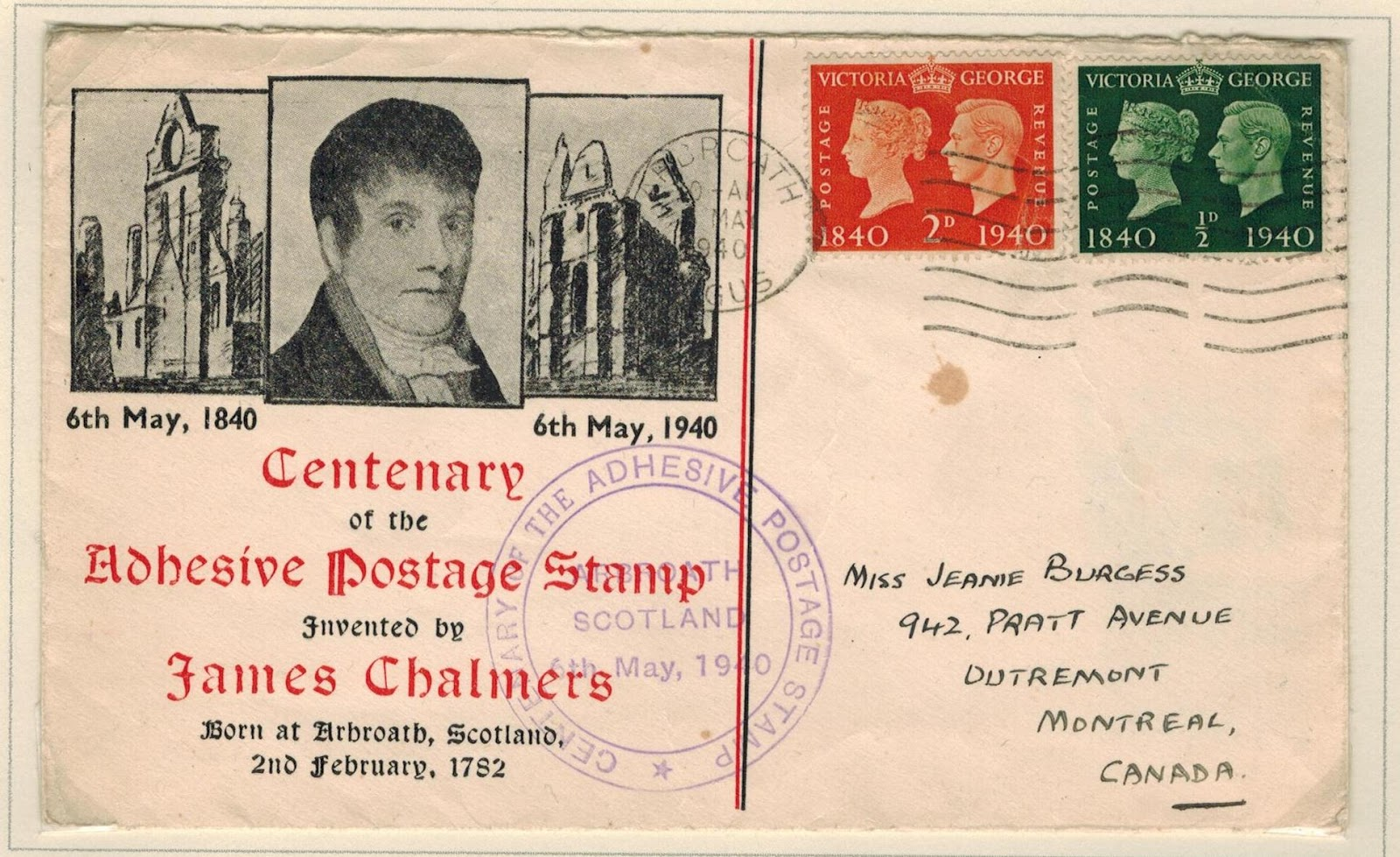 All the credits for inventing first adhesive Postage Stamp also goes to a Scottish James Chalmers