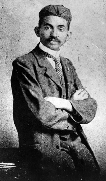 Mahatma Gandhi wearing western clothes. India, 1893 (Photo by Mondadori Portfolio via Getty Images)