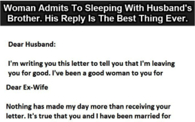 Woman admits to Sleeping with Husband's Brother  His reply