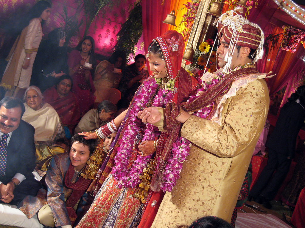 The entrance of the wedding venue is adored with totan.